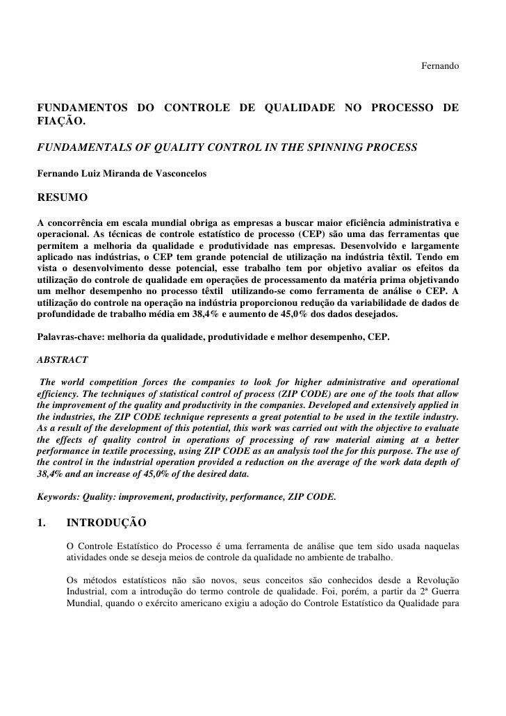 FernandoFUNDAMENTOS DO CONTROLE DE QUALIDADE NO PROCESSO DEFIAÇÃO.FUNDAMENTALS OF QUALITY CONTROL IN THE SPINNING PROCESSF...
