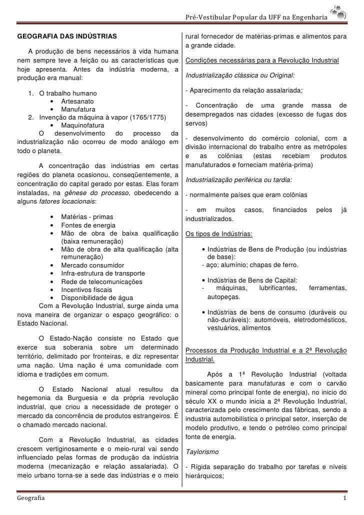 Pré-Vestibular Popular da UFF na Engenharia  GEOGRAFIA DAS INDÚSTRIAS                                   rural fornecedor d...