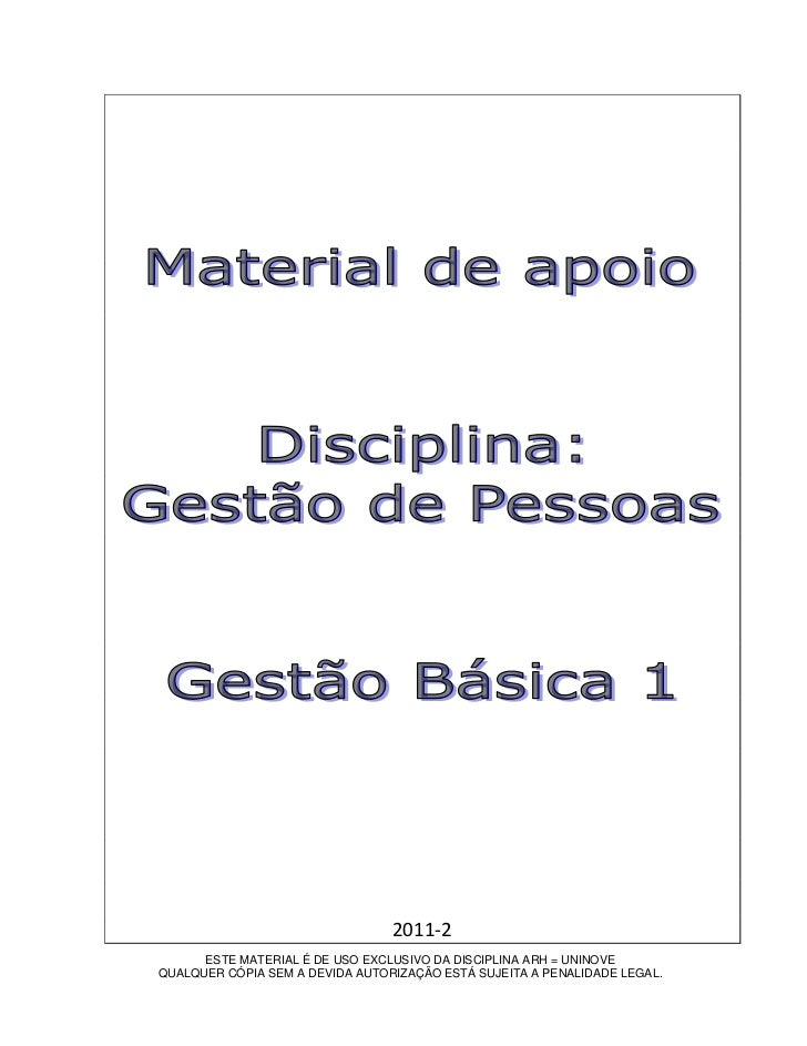 2011-2      ESTE MATERIAL É DE USO EXCLUSIVO DA DISCIPLINA ARH = UNINOVEQUALQUER CÓPIA SEM A DEVIDA AUTORIZAÇÃO ESTÁ SUJEI...