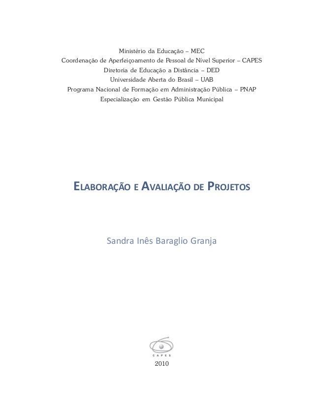 ELABORAÇÃO E AVALIAÇÃO DE PROJETOS 2010 Sandra Inês Baraglio Granja Ministério da Educação – MEC Coordenação de Aperfeiçoa...