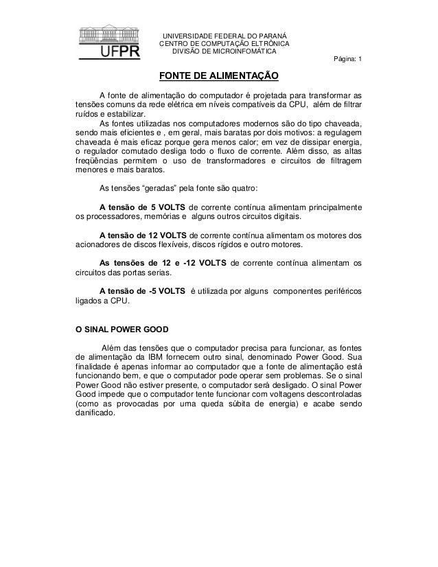 UNIVERSIDADE FEDERAL DO PARANÁ                      CENTRO DE COMPUTAÇÃO ELTRÔNICA                         DIVISÃO DE MICR...