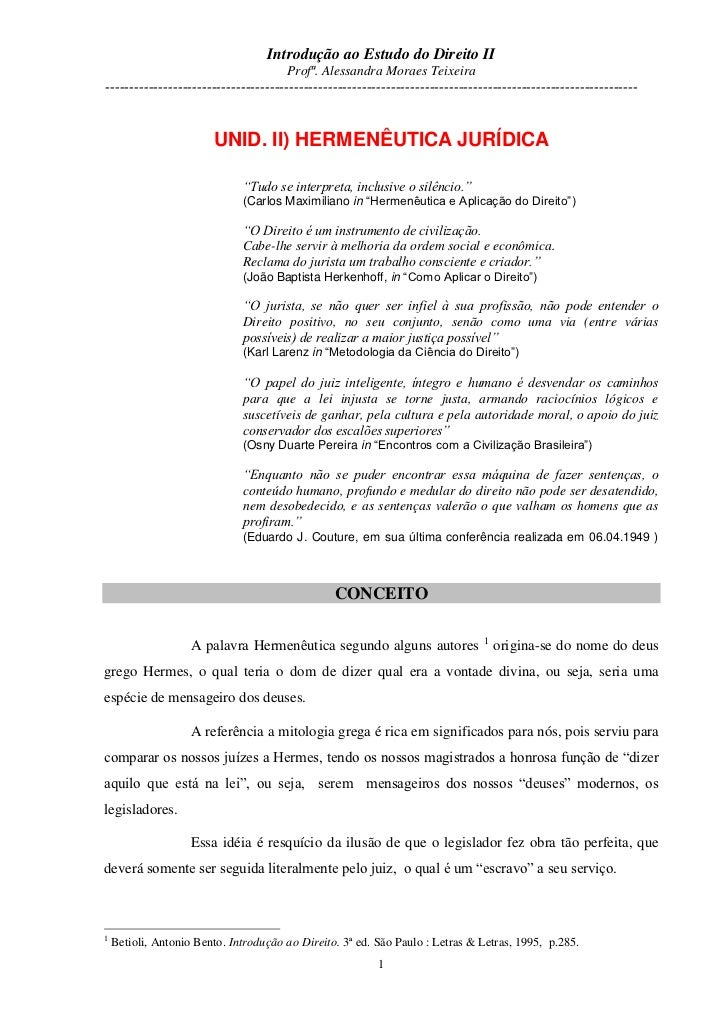 Introdução ao Estudo do Direito II                                       Profª. Alessandra Moraes Teixeira----------------...