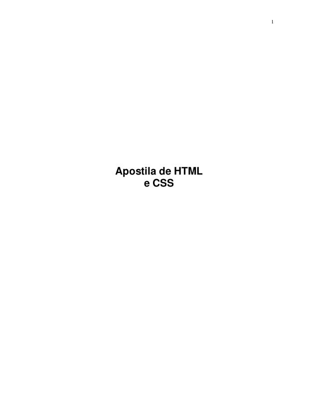 1 Apostila de HTML e CSS