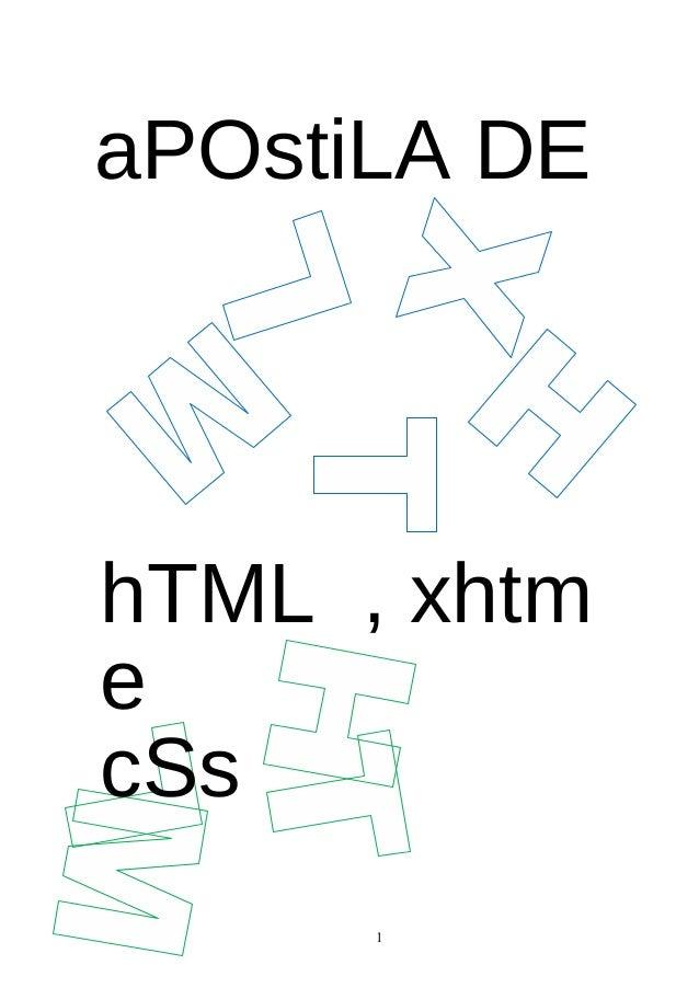 aPOstiLA DEhTML , xhtmecSs1