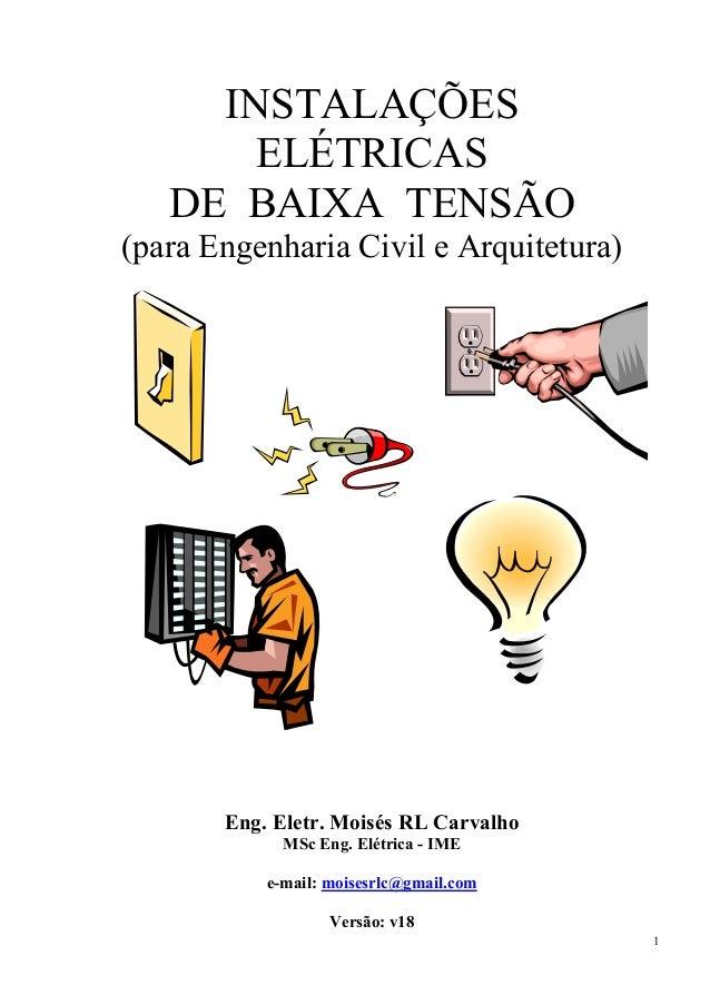 1 INSTALAÇÕES ELÉTRICAS DE BAIXA TENSÃO (para Engenharia Civil e Arquitetura) Eng. Eletr. Moisés RL Carvalho MSc Eng. Elét...