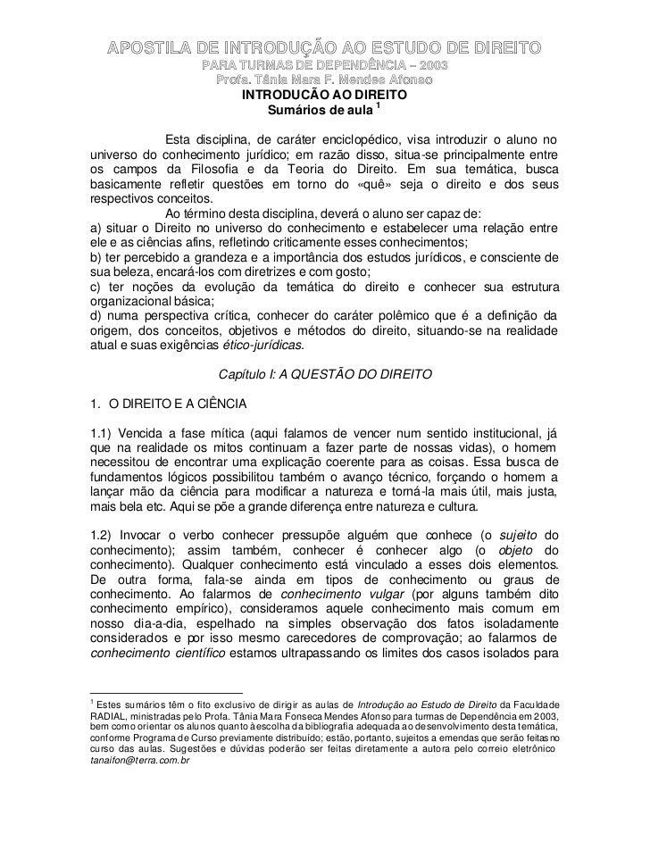 APOSTILA DE INTRODUÇÃO AO ESTUDO DE DIREITO                         PARA TURMAS DE DEPENDÊNCIA – 2003                     ...