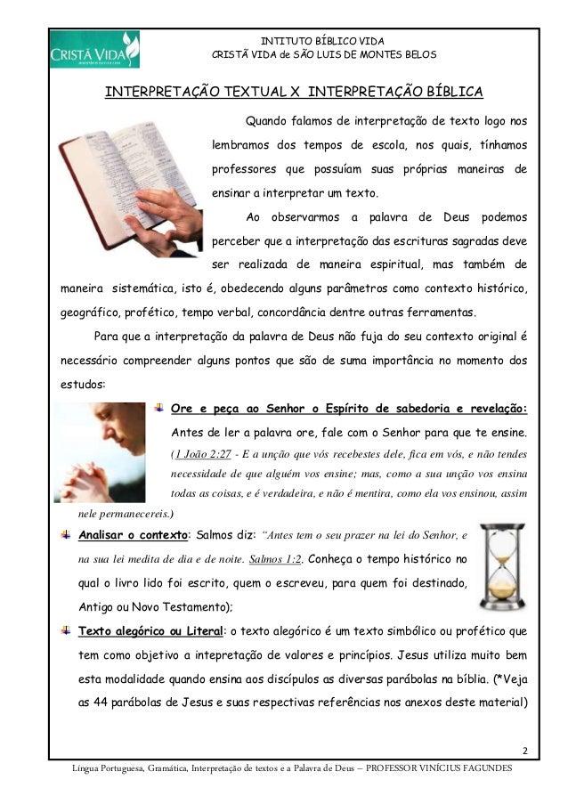 Apostila de Língua Portuguesa do Instituto Bíblico Slide 2