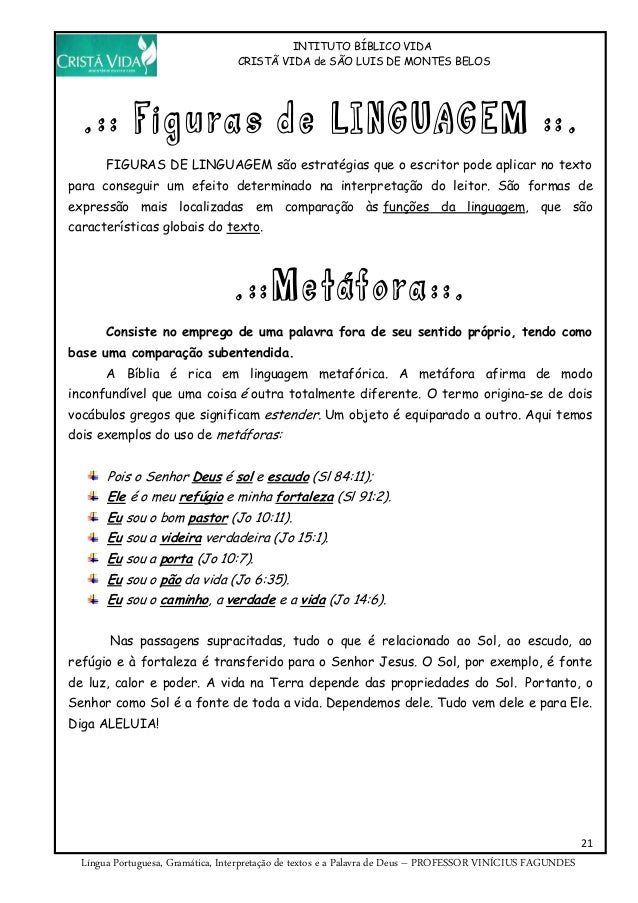 INTITUTO BÍBLICO VIDA CRISTÃ VIDA de SÃO LUIS DE MONTES BELOS 21 Língua Portuguesa, Gramática, Interpretação de textos e a...