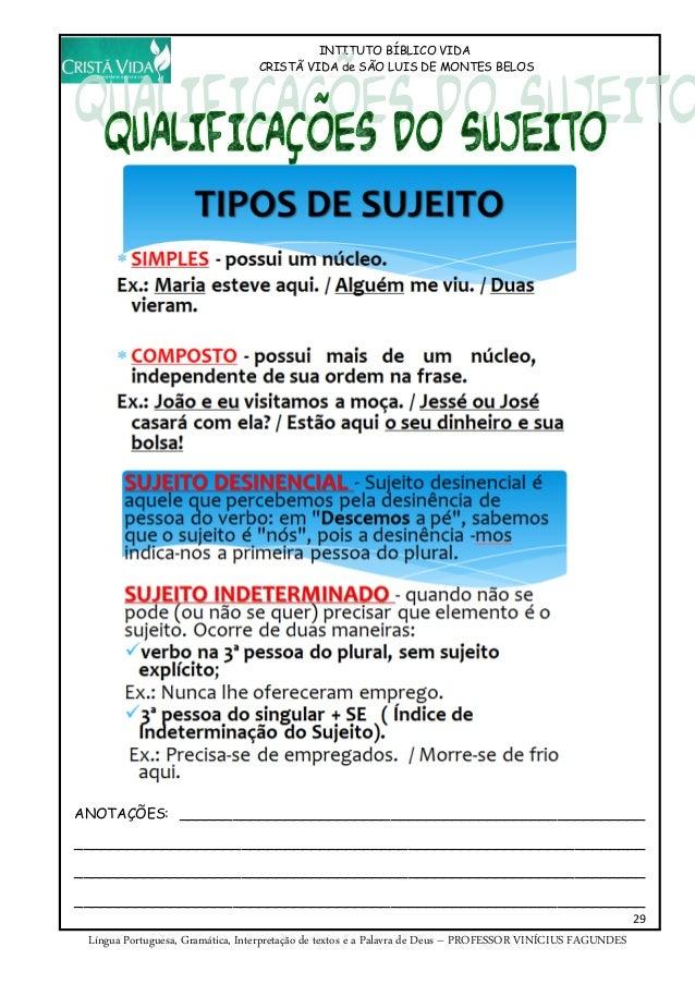 INTITUTO BÍBLICO VIDA CRISTÃ VIDA de SÃO LUIS DE MONTES BELOS 29 Língua Portuguesa, Gramática, Interpretação de textos e a...