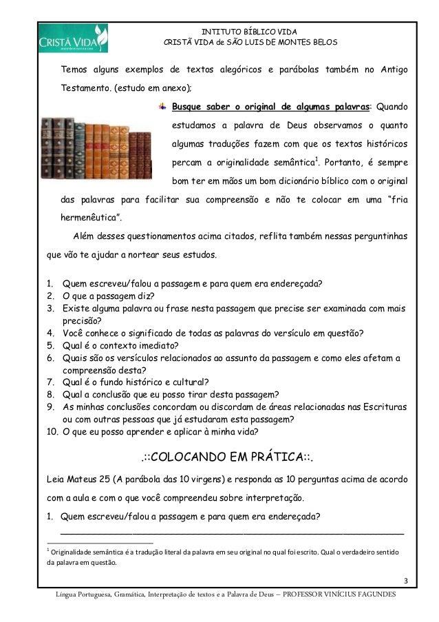 Apostila de Língua Portuguesa do Instituto Bíblico Slide 3