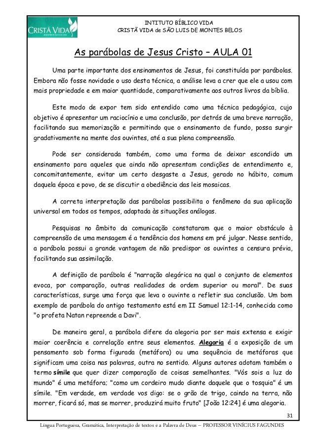 INTITUTO BÍBLICO VIDA CRISTÃ VIDA de SÃO LUIS DE MONTES BELOS 31 Língua Portuguesa, Gramática, Interpretação de textos e a...