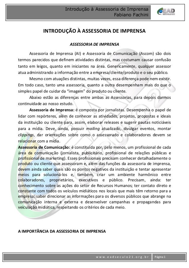 www w w w . e a d s e c u l o 2 1 . o r g . b r Página 1 Introdução à Assessoria de Imprensa Fabiano Fachini INTRODUÇÃO À ...