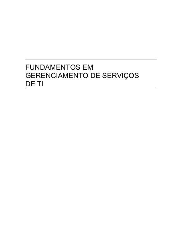 FUNDAMENTOS EM GERENCIAMENTO DE SERVIÇOS DE TI