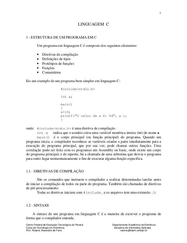 Centro Federal de Educação Tecnológica do Paraná Departamento Acadêmico de Eletrônica Curso de Tecnologia em Eletrônica Di...