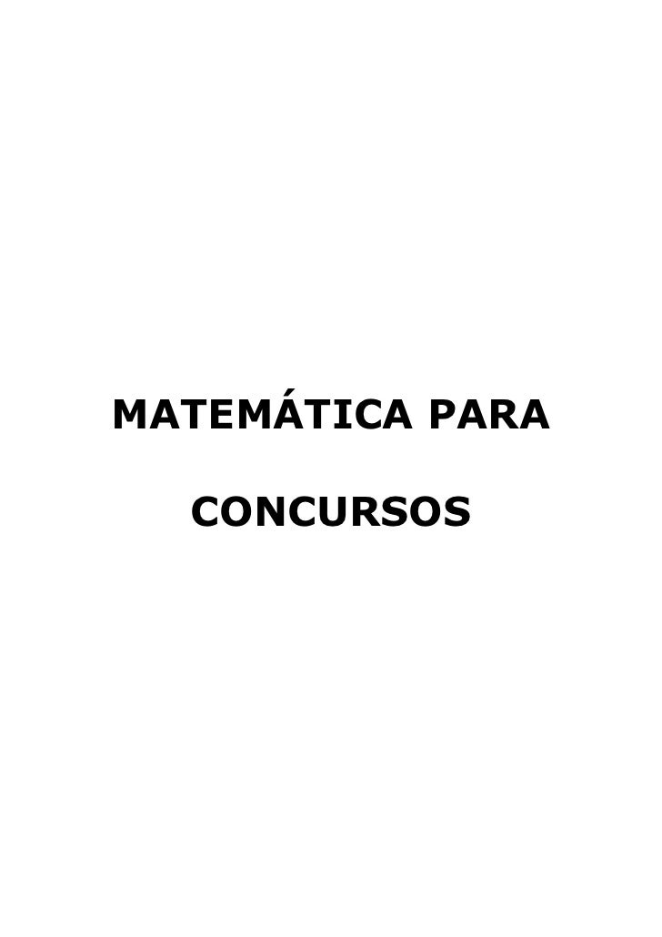 Apostila matematica concursos