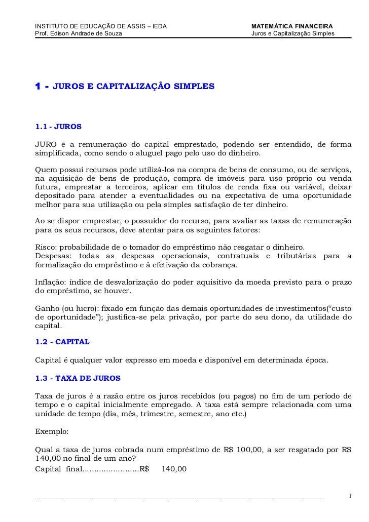 INSTITUTO DE EDUCAÇÃO DE ASSIS – IEDA                                MATEMÁTICA FINANCEIRAProf. Edison Andrade de Souza   ...