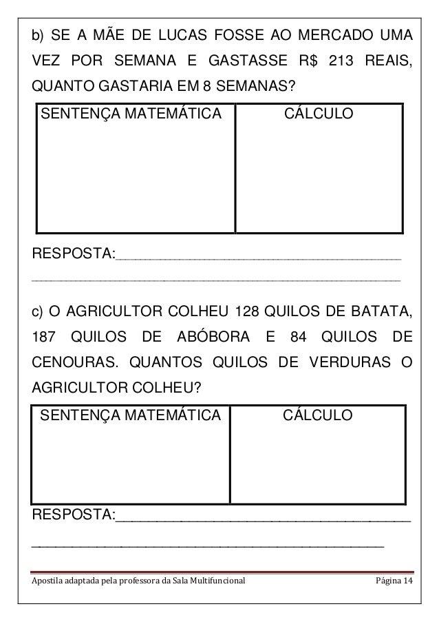Apostila adaptada pela professora da Sala Multifuncional Página 14 b) SE A MÃE DE LUCAS FOSSE AO MERCADO UMA VEZ POR SEMAN...