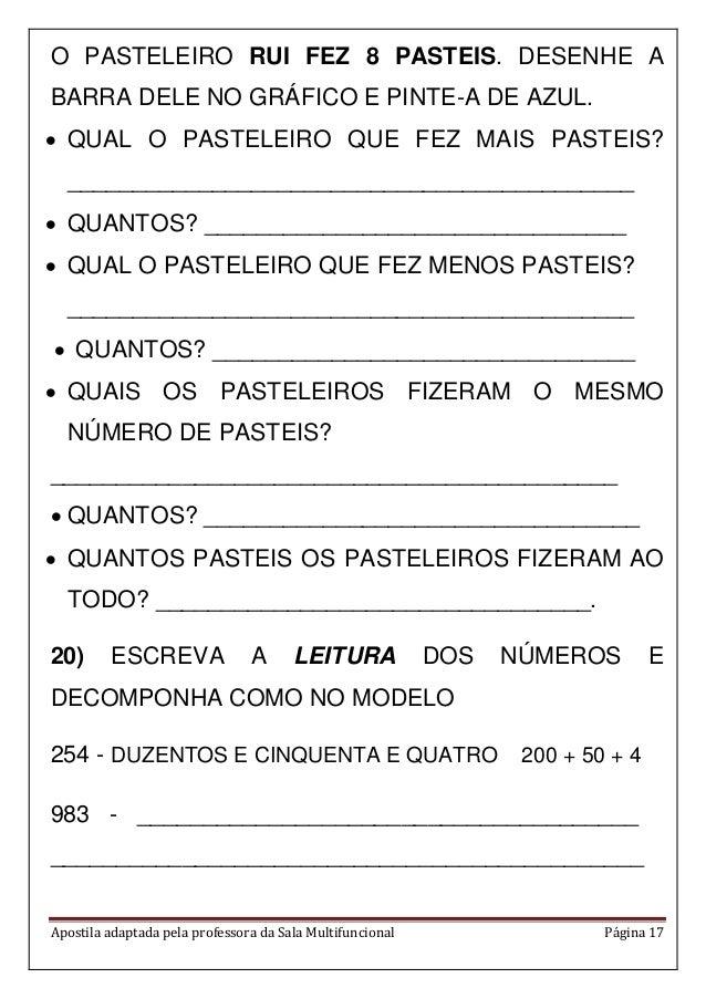 Apostila adaptada pela professora da Sala Multifuncional Página 17 O PASTELEIRO RUI FEZ 8 PASTEIS. DESENHE A BARRA DELE NO...