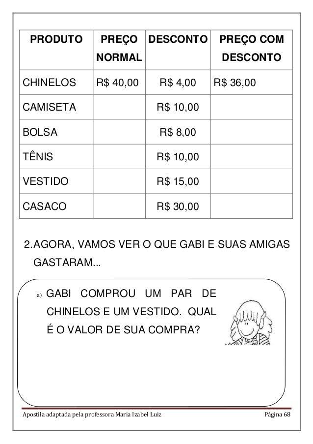 Apostila adaptada pela professora Maria Izabel Luiz Página 68 PRODUTO PREÇO NORMAL DESCONTO PREÇO COM DESCONTO CHINELOS R$...