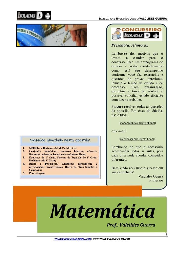 M ATEMÁTICA E RACIOCÍNIO LÓGICO/VALCLIDES GUERRA                                                                   Prezado...