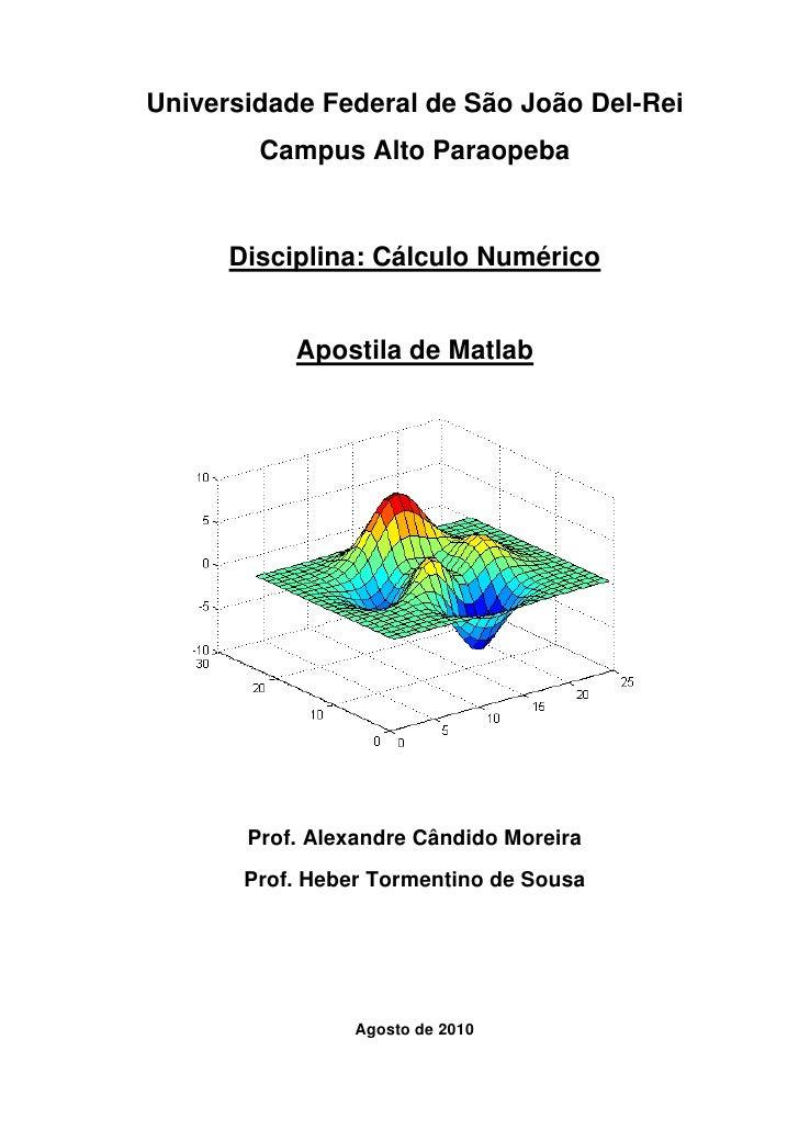 Universidade Federal de São João Del-Rei        Campus Alto Paraopeba      Disciplina: Cálculo Numérico           Apostila...