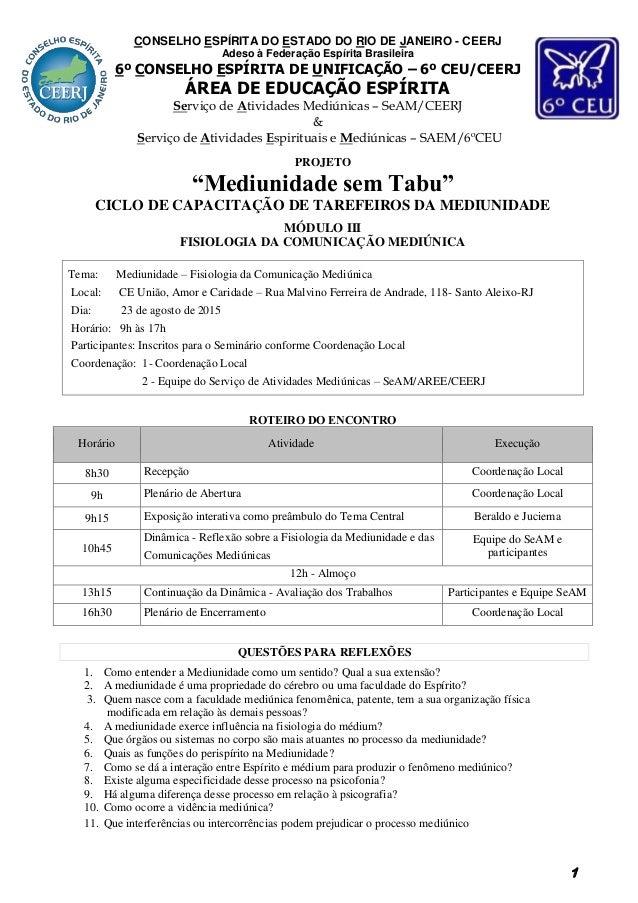 """1 PROJETO """"Mediunidade sem Tabu"""" CICLO DE CAPACITAÇÃO DE TAREFEIROS DA MEDIUNIDADE MÓDULO III FISIOLOGIA DA COMUNICAÇÃO ME..."""
