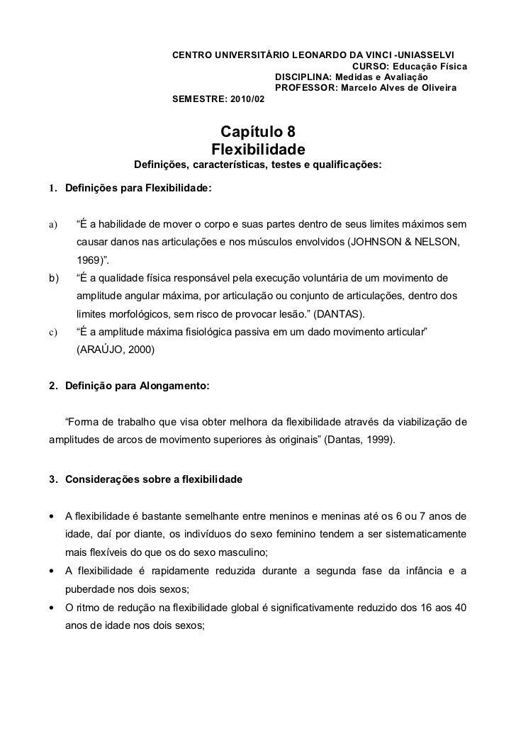 Apostila medidas e avaliação capitulo 8 flexibilidade
