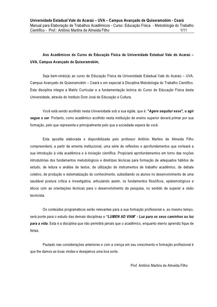 Universidade Estadual Vale do Acaraú – UVA – Campus Avançado de Quixeramobim - CearáManual para Elaboração de Trabalhos Ac...