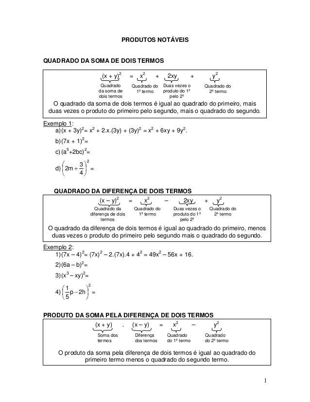 PRODUTOS NOTÁVEIS QUADRADO DA SOMA DE DOIS TERMOS (x + y)2 = x2 + 2xy + y2 Quadrado da soma de dois termos Duas vezes o pr...