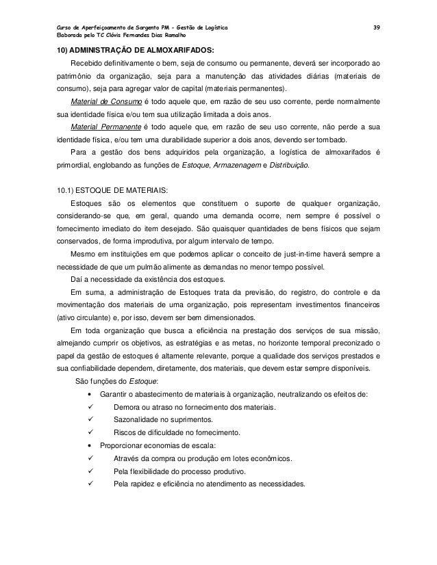 Apostila nocoes de gestao de logistica for R 1 regulamento interno e dos servicos gerais risg