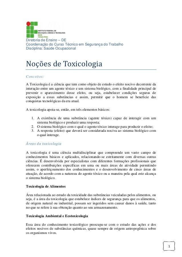 Diretoria de Ensino – DE Coordenação do Curso Técnico em Segurança do Trabalho Disciplina: Saúde Ocupacional  Noções de To...