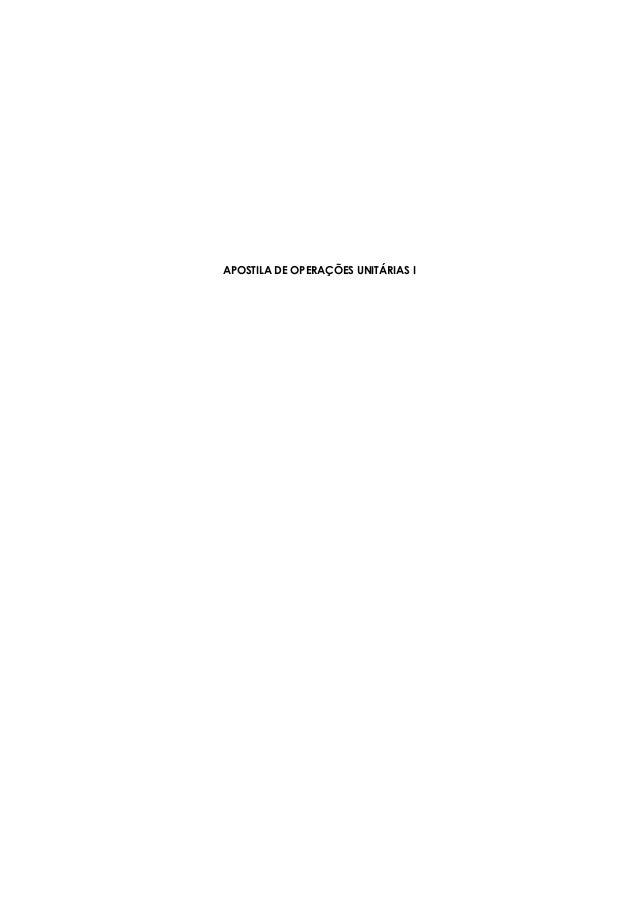 APOSTILA DE OPERAÇÕES UNITÁRIAS I