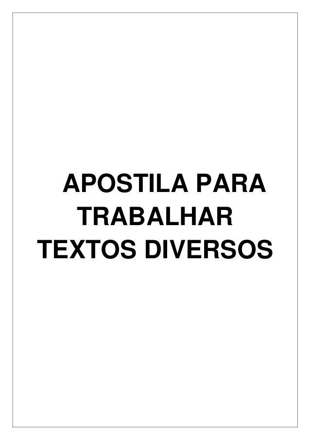 APOSTILA PARA TRABALHAR TEXTOS DIVERSOS