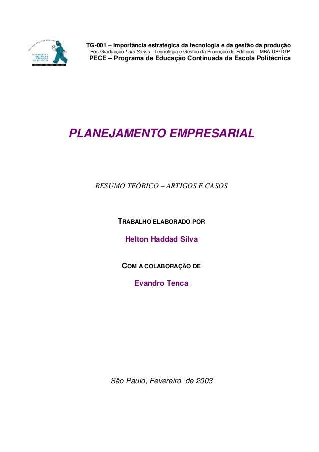 TG-001 – Importância estratégica da tecnologia e da gestão da produção Pós-Graduação Lato Sensu - Tecnologia e Gestão da P...