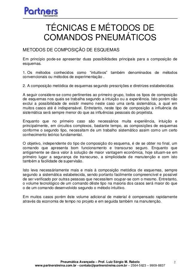 Pneumática Avançada – Prof. Luiz Sérgio M. Rabelo www.partnerstreina.com.br - contato@partnerstreina.com.br – 2564-5623 – ...