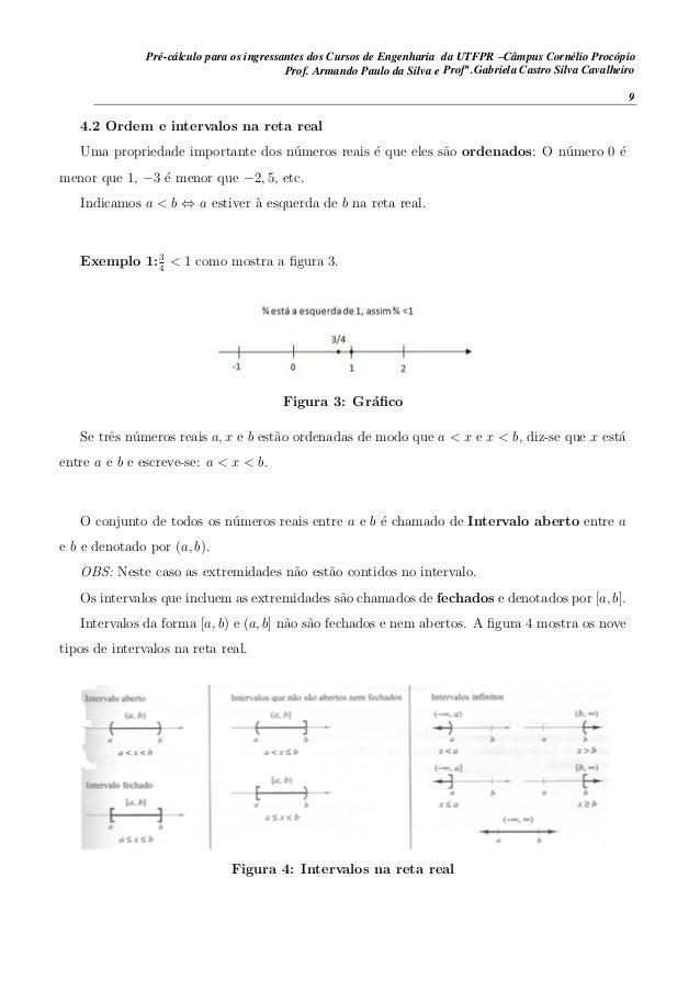 4.2 Ordem e intervalos na reta real Uma propriedade importante dos n´umeros reais ´e que eles s˜ao ordenados: O n´umero 0 ...