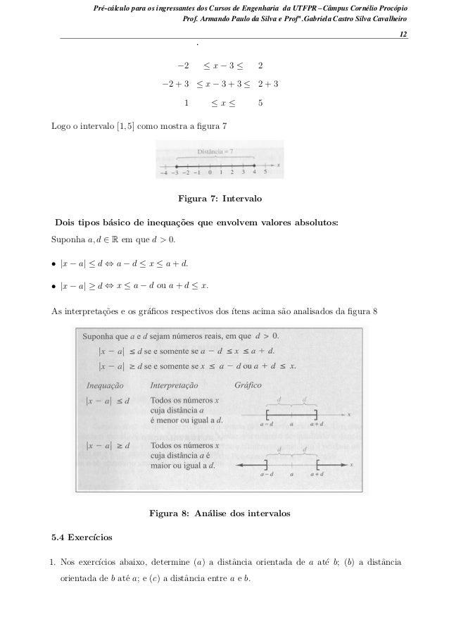 −2 ≤ x − 3 ≤ 2 −2 + 3 ≤ x − 3 + 3 ≤ 2 + 3 1 ≤ x ≤ 5 Logo o intervalo [1, 5] como mostra a figura 7 Figura 7: Intervalo Dois...