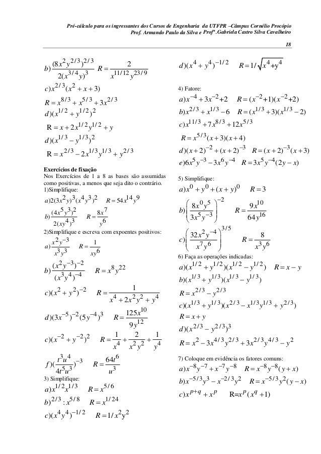Pré-cálculo para os ingressantes dos Cursos de Engenharia da UTFPR –Câmpus Cornélio Procópio 18 2 2/3 2/3 3/ 4 3 11/12 23/...