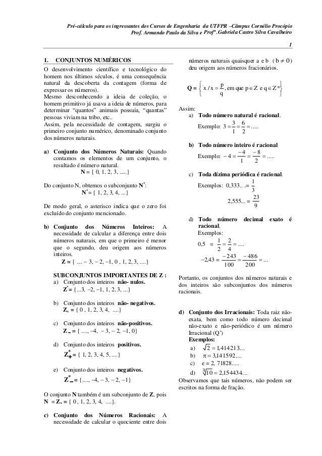 Pré-cálculo para os ingressantes dos Cursos de Engenharia da UTFPR –Câmpus Cornélio Procópio Prof. Armando Paulo da Silva ...