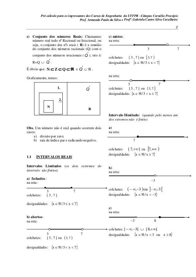 Pré-cálculo para os ingressantes dos Cursos de Engenharia da UTFPR –Câmpus Cornélio Procópio 2 e) Conjunto dos números Rea...