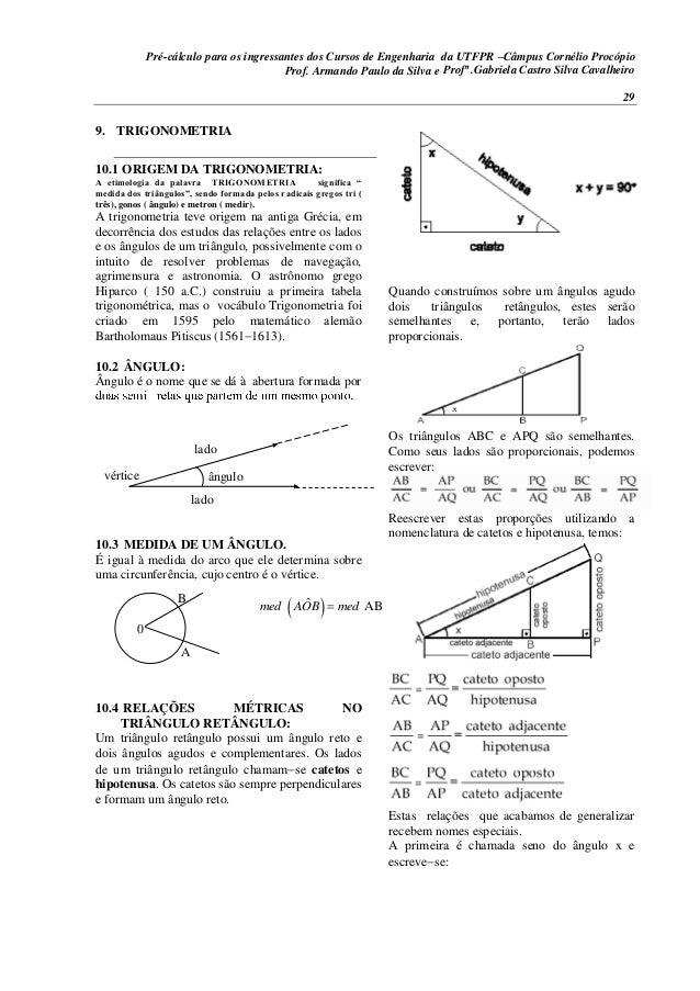 Pré-cálculo para os ingressantes dos Cursos de Engenharia da UTFPR –Câmpus Cornélio Procópio 29 9. TRIGONOMETRIA 10.1 ORIG...