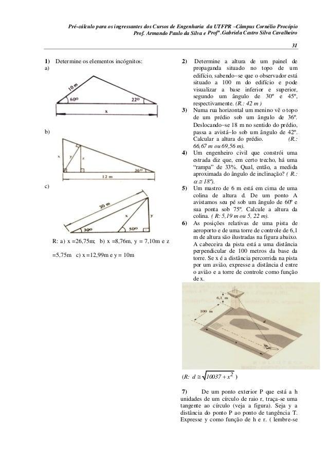 Pré-cálculo para os ingressantes dos Cursos de Engenharia da UTFPR –Câmpus Cornélio Procópio 31 1) Determine os elementos ...