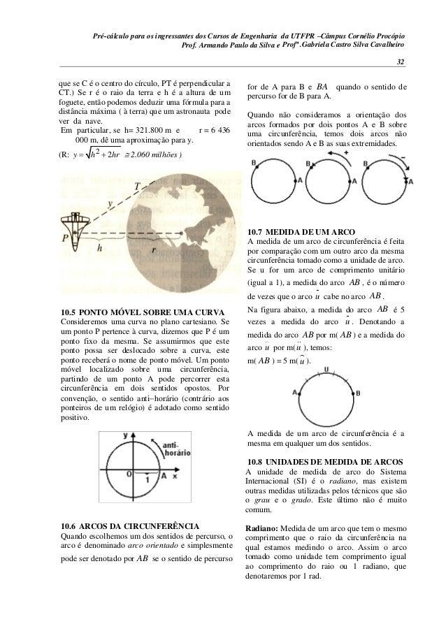 Pré-cálculo para os ingressantes dos Cursos de Engenharia da UTFPR –Câmpus Cornélio Procópio 32 que se C é o centro do cír...