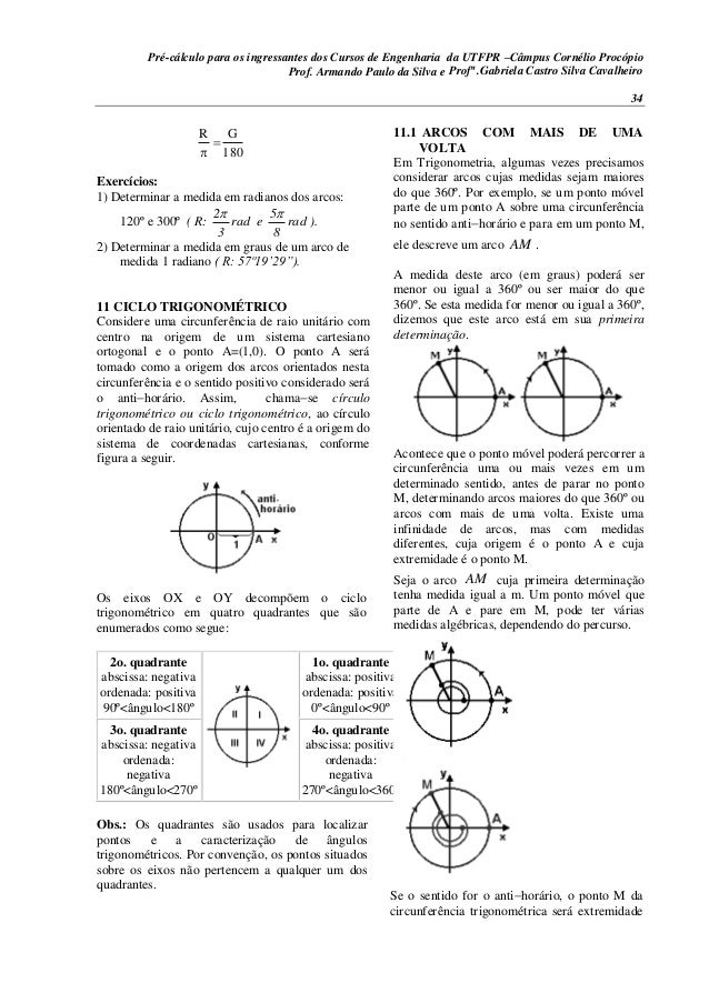 Pré-cálculo para os ingressantes dos Cursos de Engenharia da UTFPR –Câmpus Cornélio Procópio 34 180 GR   Exercícios: 1) ...