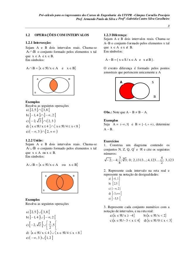 Pré-cálculo para os ingressantes dos Cursos de Engenharia da UTFPR –Câmpus Cornélio Procópio 3 1.2 OPERAÇÕES COM INTERVALO...
