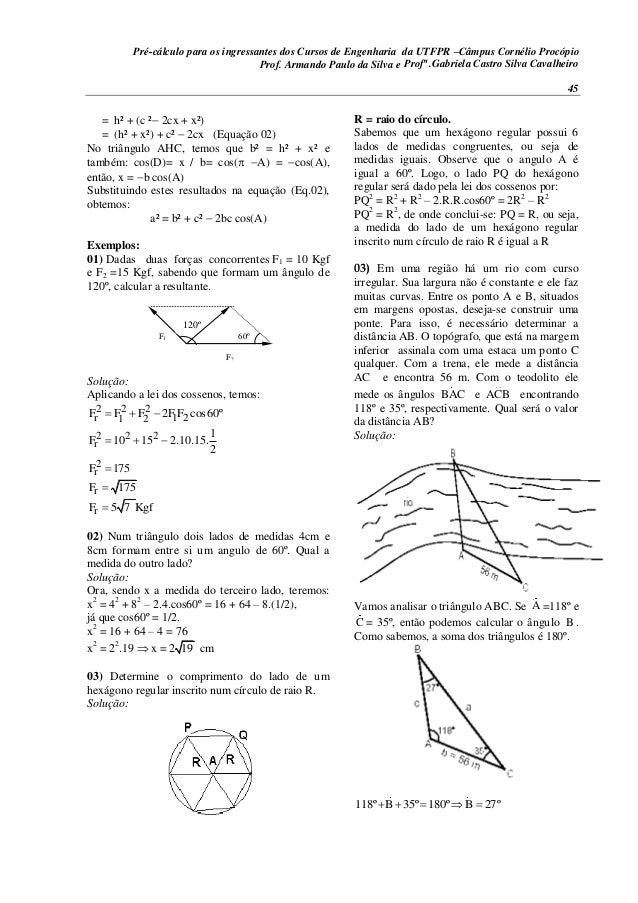 Pré-cálculo para os ingressantes dos Cursos de Engenharia da UTFPR –Câmpus Cornélio Procópio 45 = h² + (c ²2cx + x²) = (...
