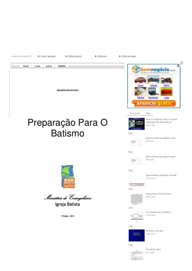 30/05/13 Apostila preparação para o batismowww.slideshare.net/wellingtondetrindade/apostila-preparao-para-o-batismo-162551...