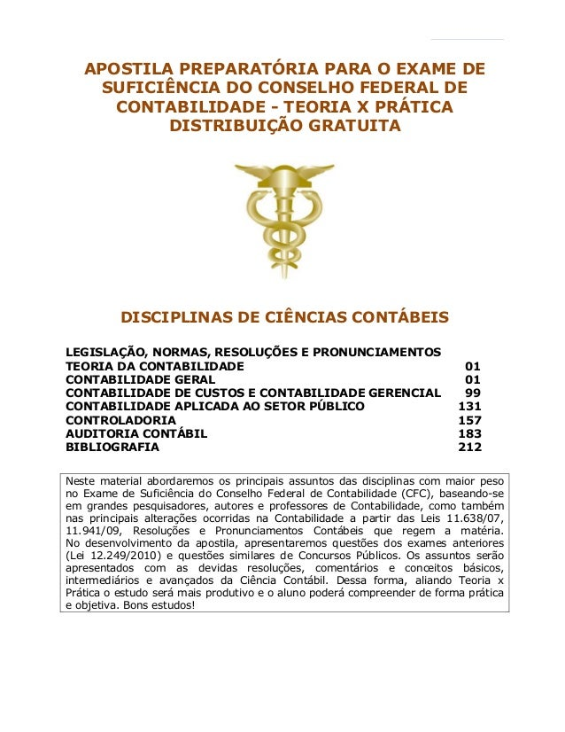 4 APOSTILA PREPARATÓRIA PARA O EXAME DE SUFICIÊNCIA DO CONSELHO FEDERAL DE CONTABILIDADE - TEORIA X PRÁTICA DISTRIBUIÇÃO G...