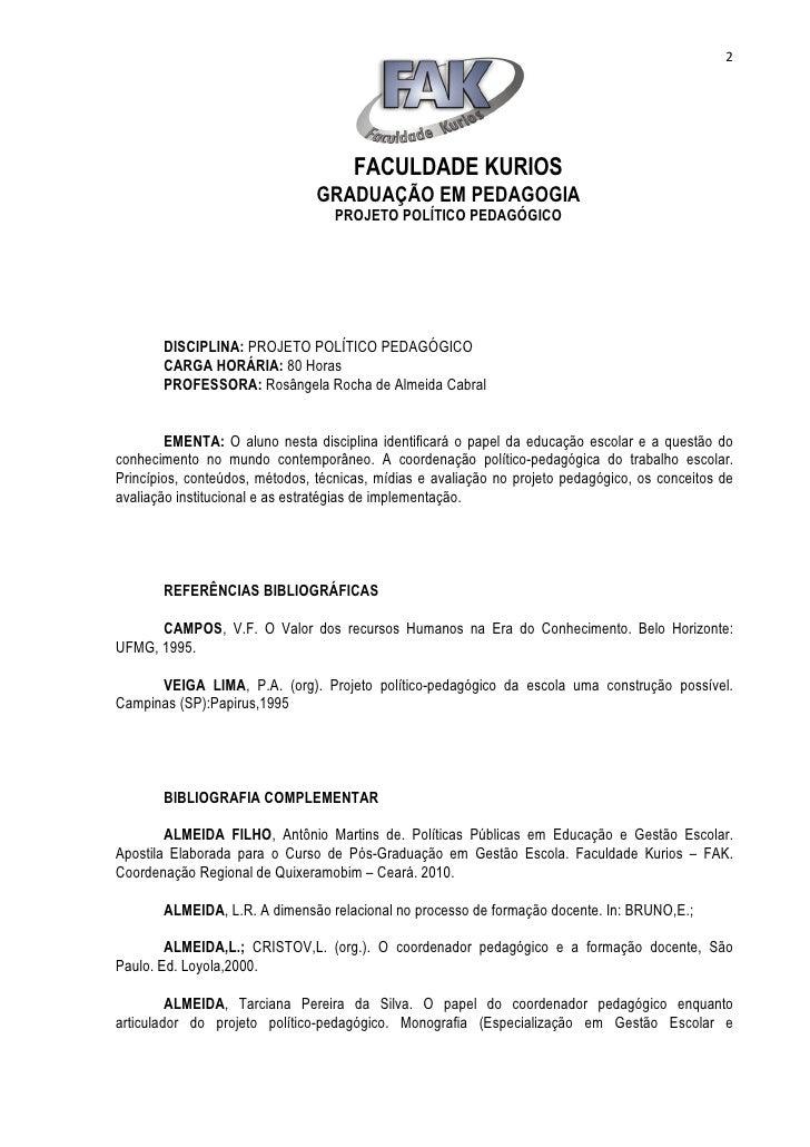 2                                      FACULDADE KURIOS                                GRADUAÇÃO EM PEDAGOGIA             ...