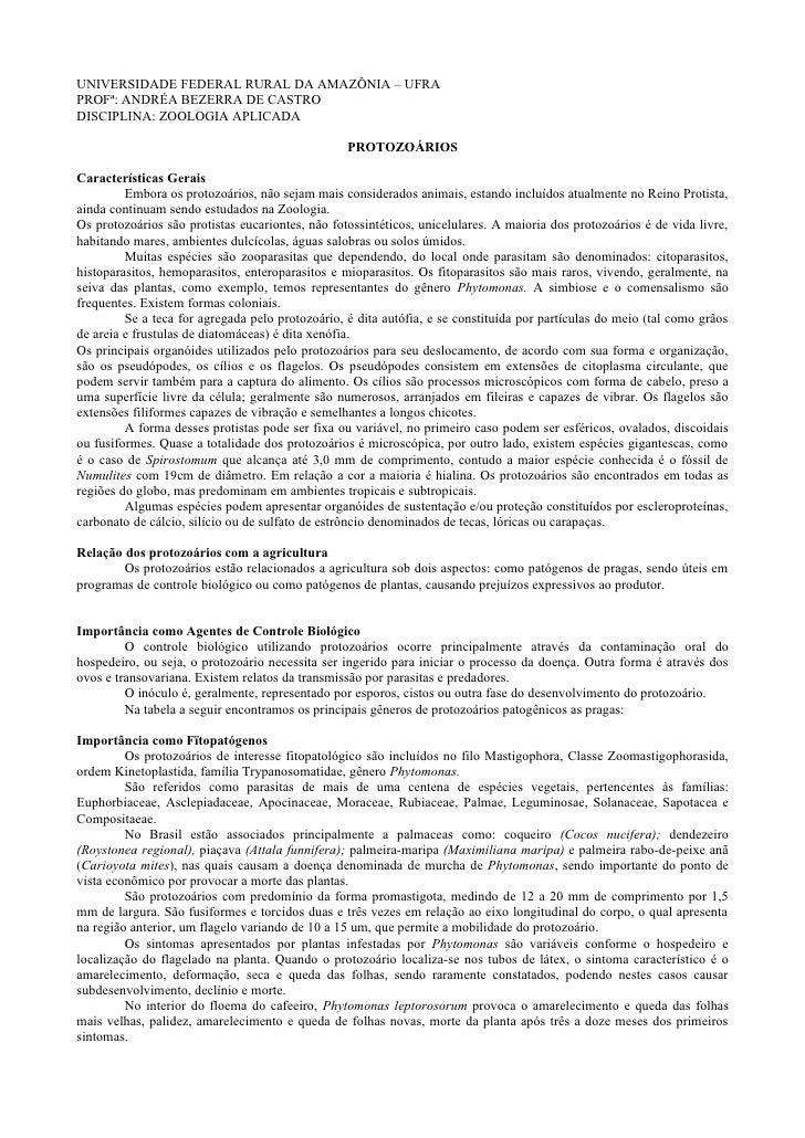 UNIVERSIDADE FEDERAL RURAL DA AMAZÔNIA – UFRAPROFª: ANDRÉA BEZERRA DE CASTRODISCIPLINA: ZOOLOGIA APLICADA                 ...